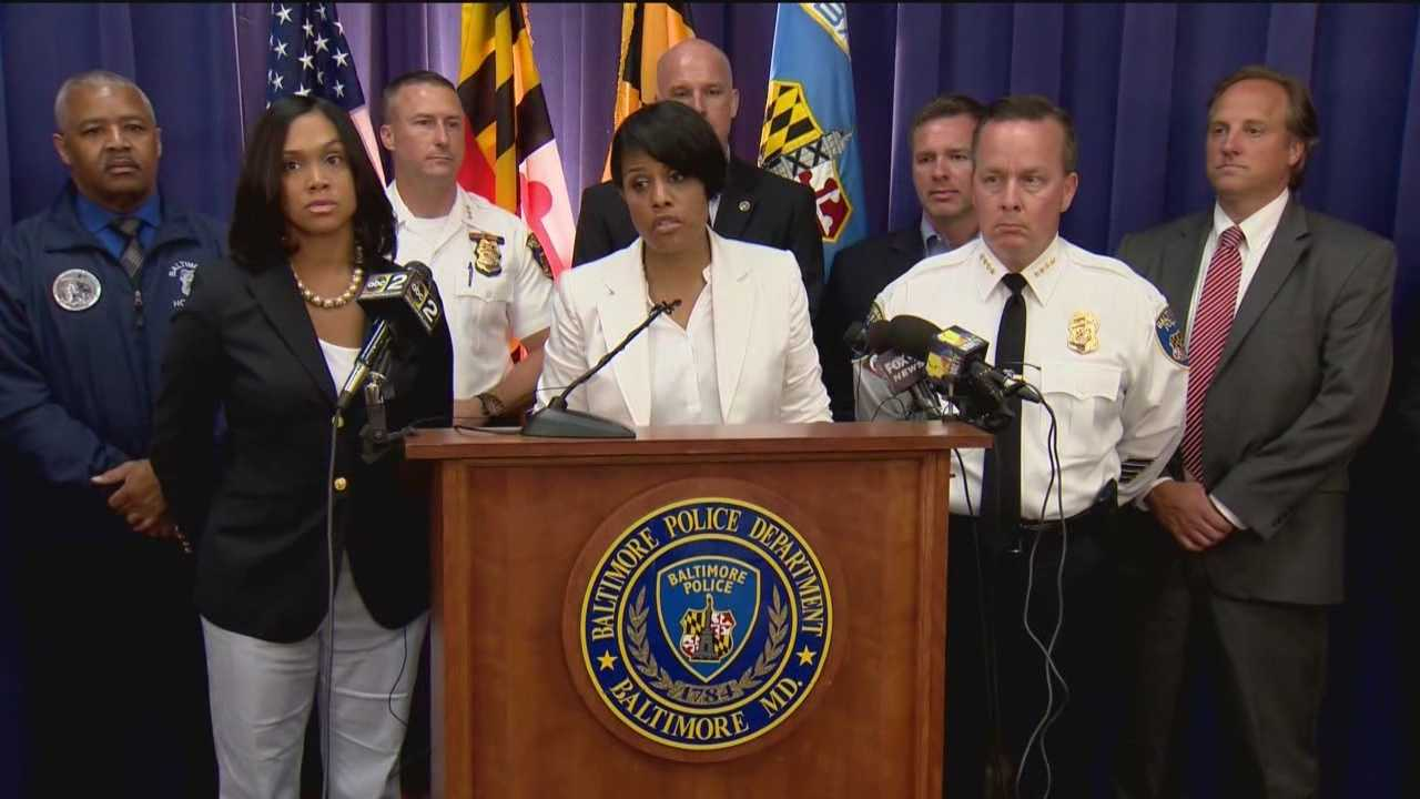 Baltimore Mayor Stephanie Rawlings-Blake stood with the city's top law enforcement officials Sunday to outline a crime-fighting plan.
