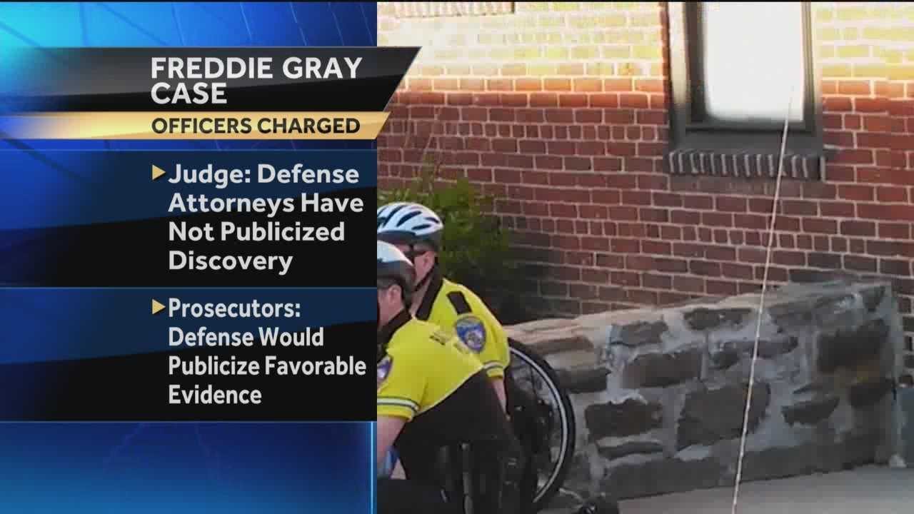 A Baltimore judge won't prohibit defense attorneys from releasing evidence in the high-profile Freddie Gray case.