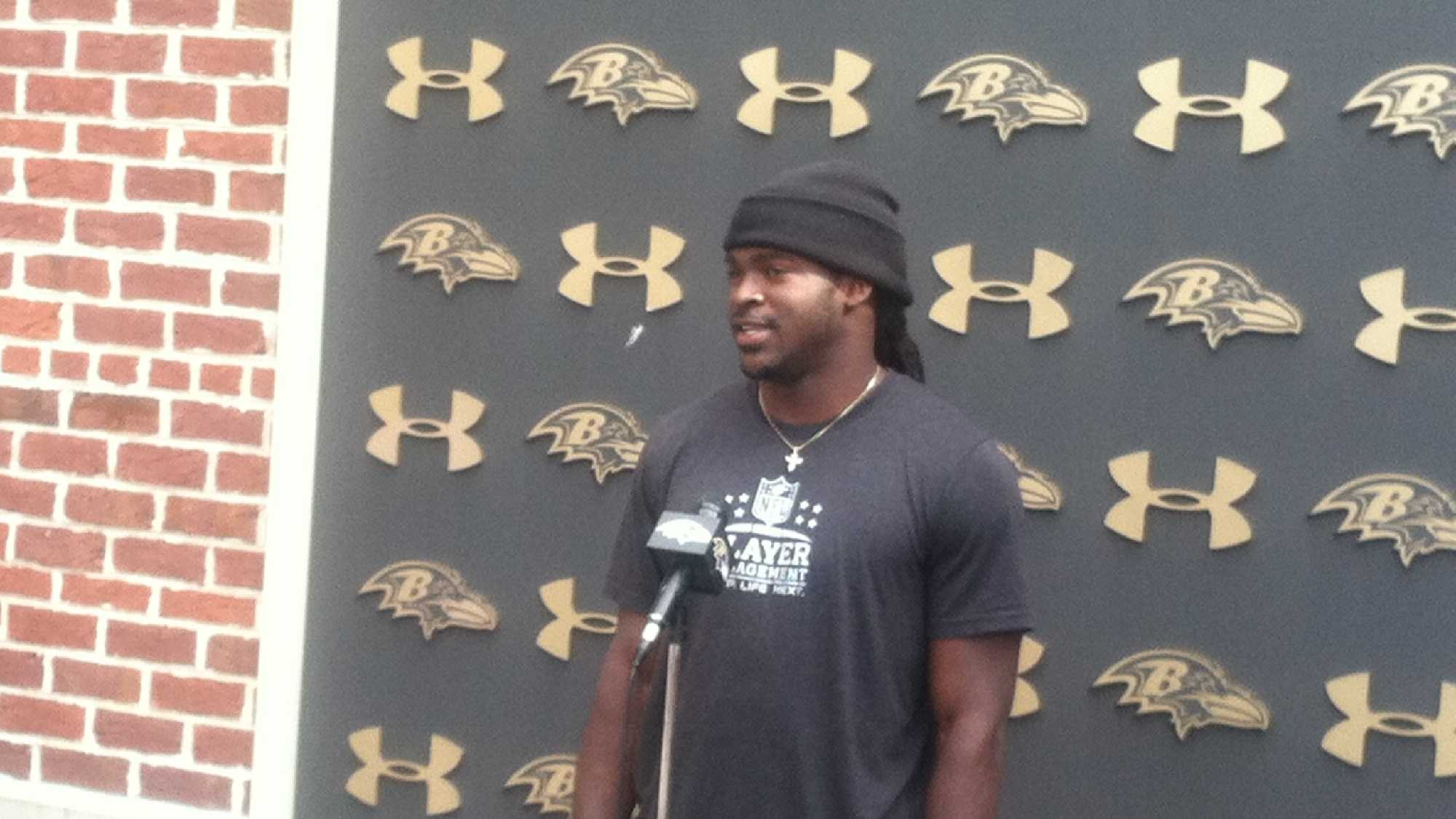 Ravens rookie receiver Breshad Perriman addresses the media as training camp begins in Owings Mills.