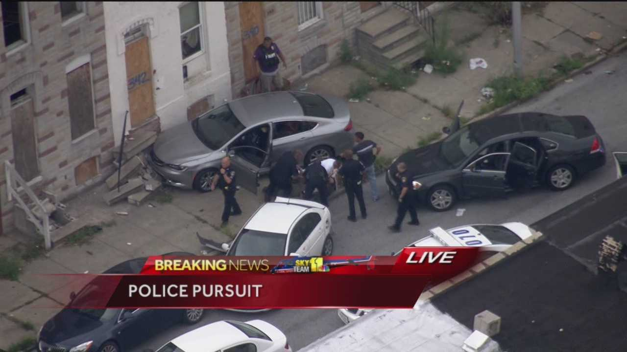 This was live SkyTeam 11 coverage of a police pursuit that ended in a crash in Baltimore City.