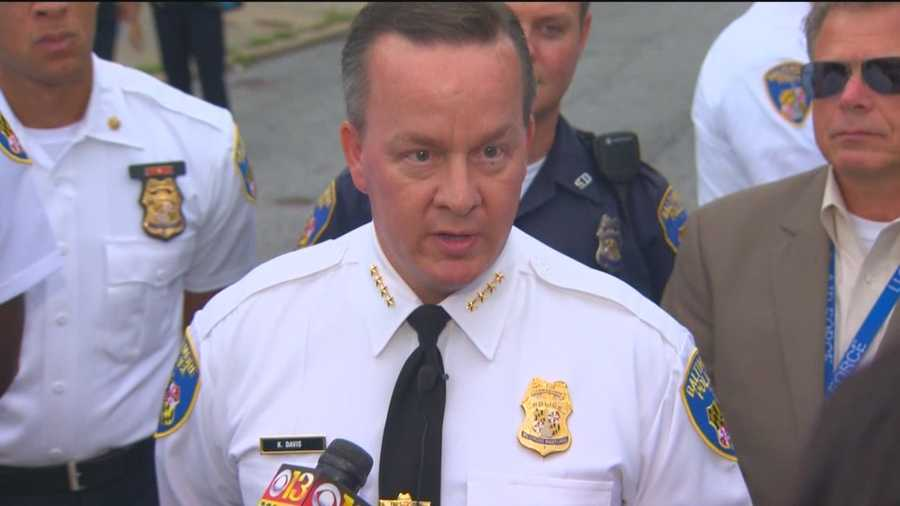 Baltimore interim Police Commissioner Kevin Davis speaks following the arrest of two men following a high-speed chase.