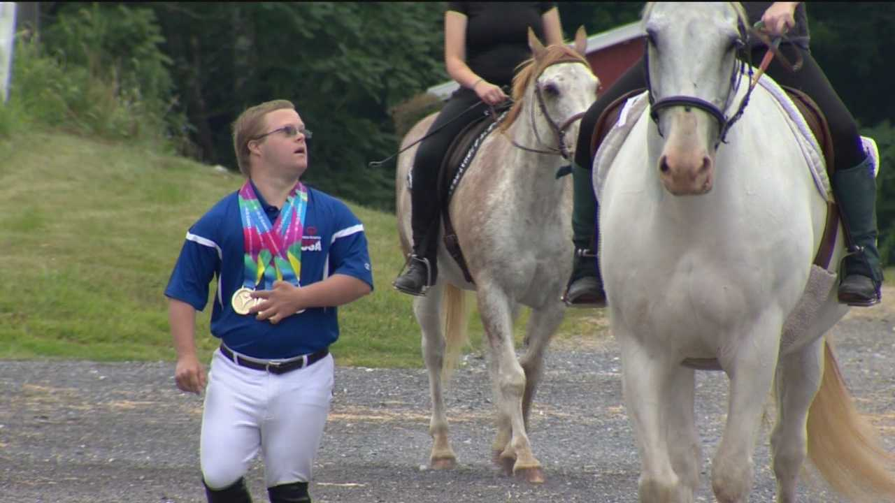 At the Therapeutic and Recreational Riding Center in Glenwood, it's a quiet morning as volunteers get the horses ready for the day ahead. The Howard County farm is where 26-year-old Special Olympics athlete Ben Stevick trains on Kit Kat.
