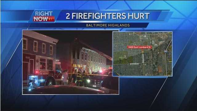 Two firefighters were injured battling a fire Sunday night in Baltimore highlands. The two-alarm fire was reported around 10:30 p.m. in the 3600 block of E. Lombard St., fire officials said.