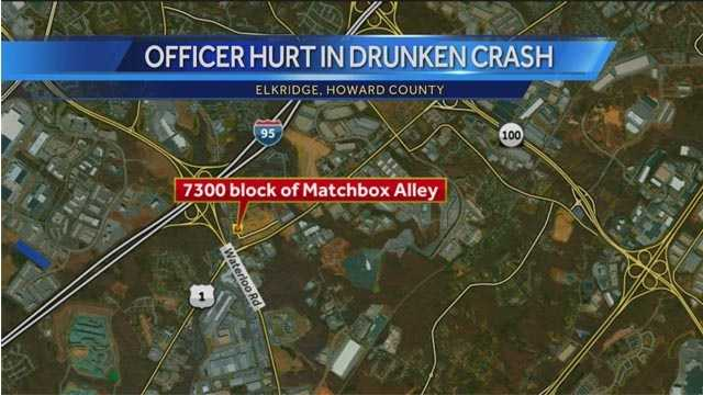 Howard County police said an officer was injured Monday night when a man crashed his vehicle into the officer's parked cruiser. Speed and alcohol appeared to play a factor in the crash, police said.