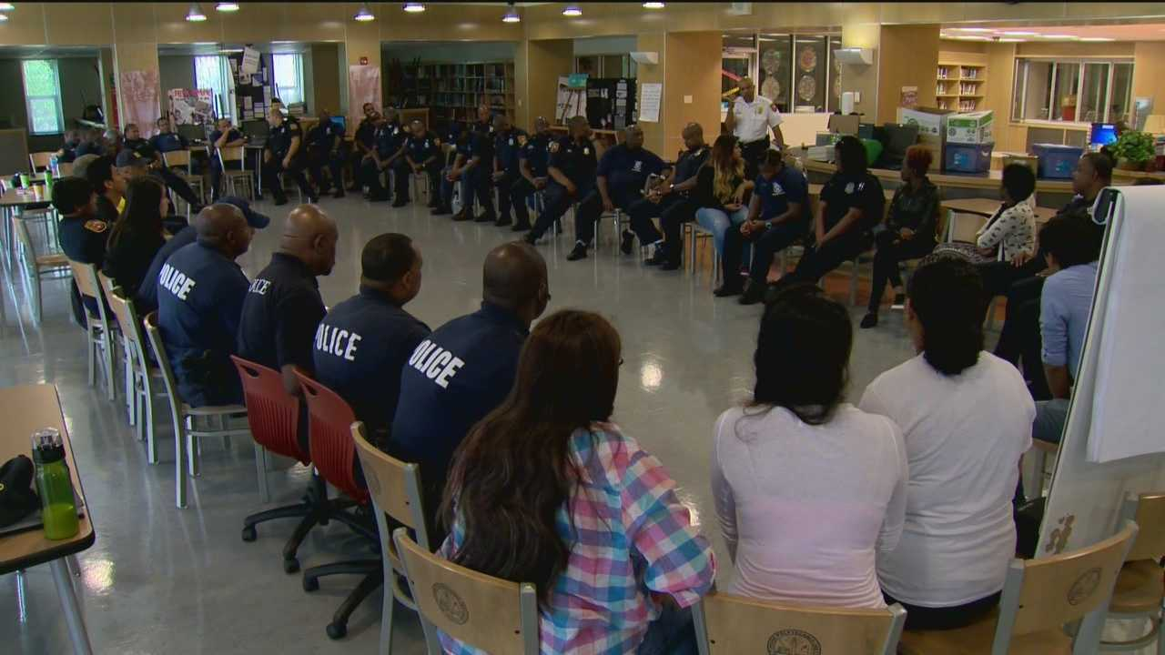 Baltimore City School Police officers are trying to create stronger ties with members of the Latino community, and they're doing it one student at a time. The city's Latino population has grown in recent years, and there's evidence of that in city schools, mainly in southeast Baltimore. The growth has led to what some may call an opportunity to learn. On Tuesday, there was a meeting of the minds between city school police officers and members of CASA, a Latino and immigrant rights organization.
