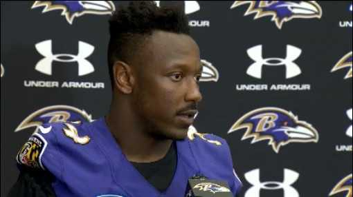 Ravens running back Lorenzo Taliaferro addresses the media after a recent training camp practice.