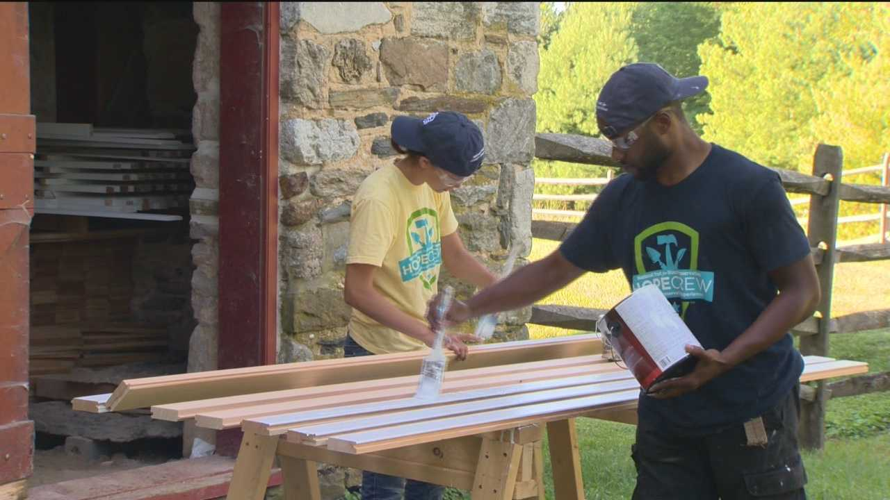 The Hampton National Historic Park in Towson is getting a bit of a face-lift. Seven workers with the Hands On Preservation Experience, or HOPE Crew are replacing several porches on the old farm house.
