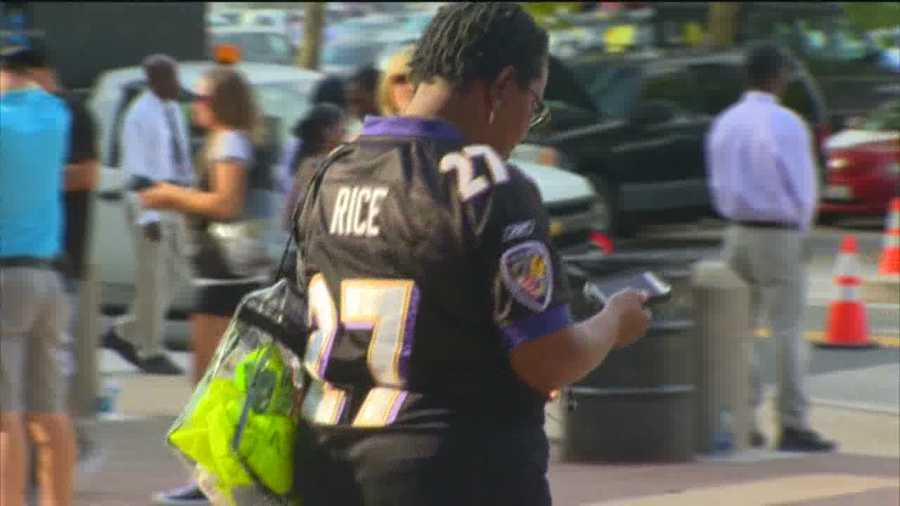 Ravens fan Lisa McClain shows off her Ray Rice jersey. She hopes the NFL will give the former Baltimore running back a chance to revive his career.