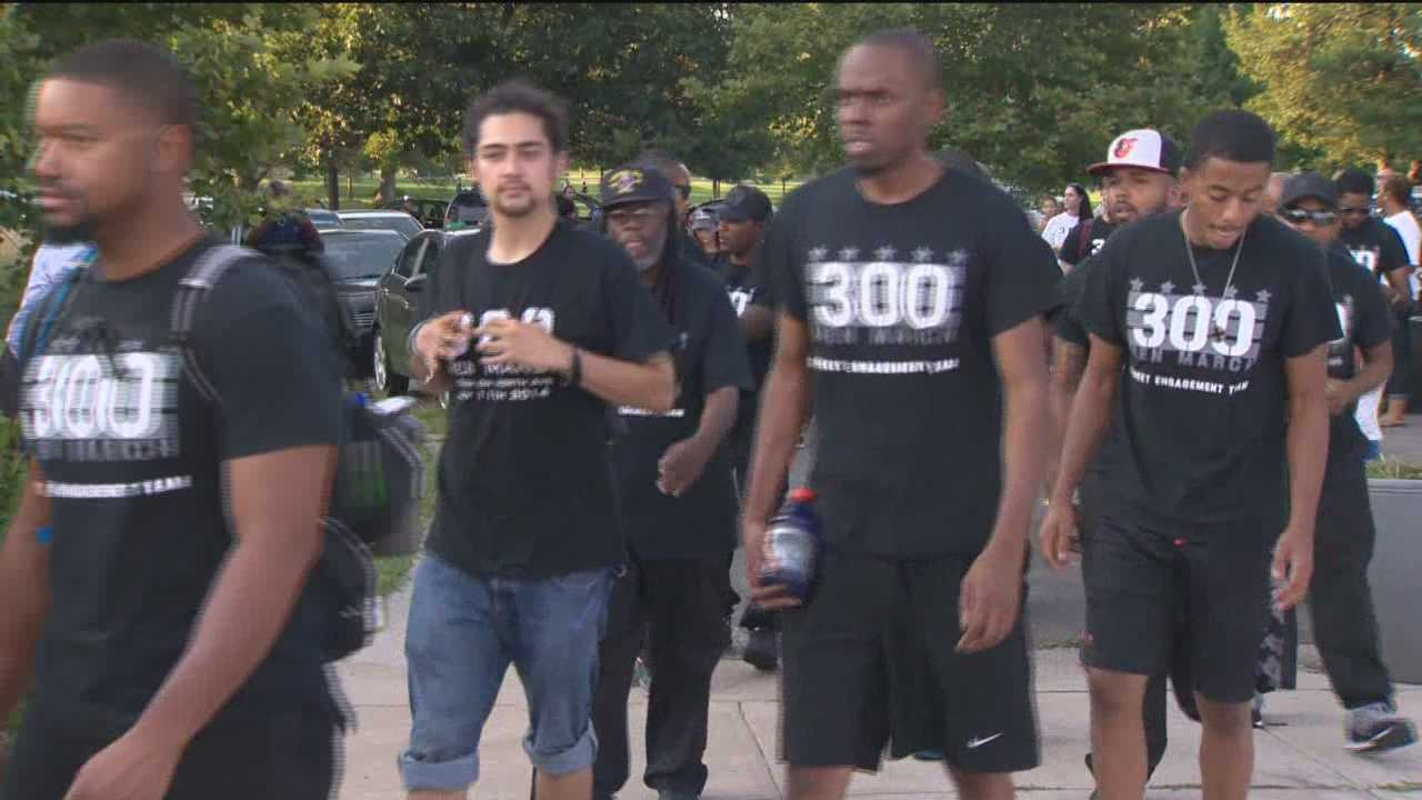 About 40 members of the 300 Men March walked from Baltimore to Washington on Sunday to help bring attention to the violence in the city. The organization wants to see more community involvement to help show those in the community there are other options available to them besides crime and violence. Through Aug. 16, there were 207 murders in 2015 compared to 211 in all of last year.