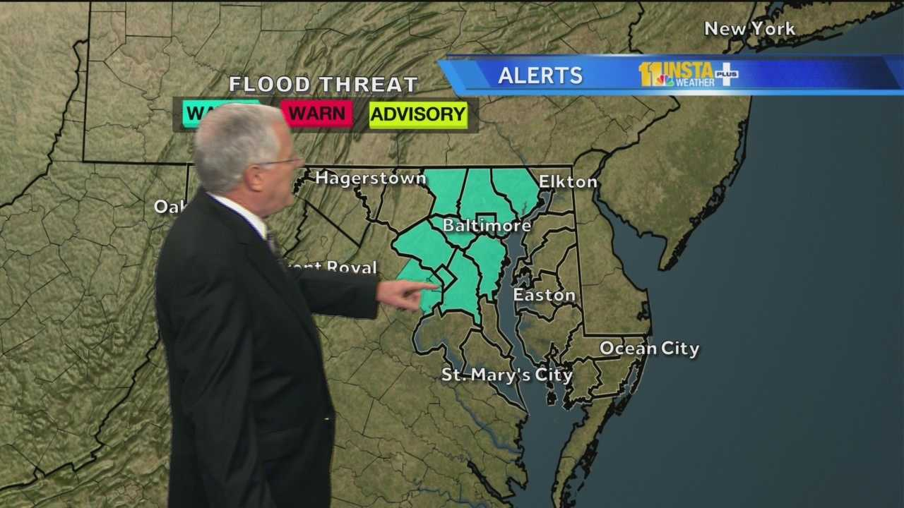 A flood watch has been issued for much of Maryland. The watch is in effect from 4 p.m. to midnight as thunderstorms are likely Thursday afternoon.
