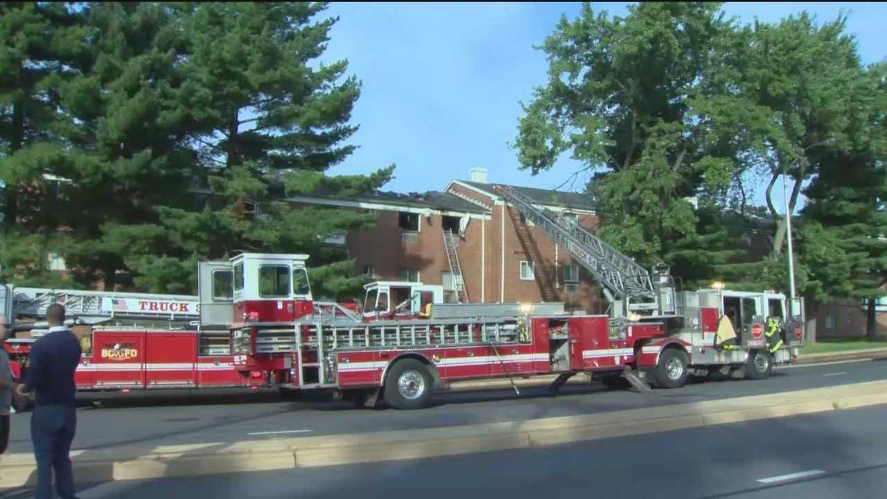 A fire displaced 20 apartments Sunday morning in northeast Baltimore. Authorities said the fire broke out around 7:15 a.m. at the Parkside Gardens apartments in the 5200 block of Moravia Road. Officials said flames and heavy smoke was seen coming from the building when firefighters arrived, and a second alarm was ordered to bring the blaze under control. There were no injuries reported. The cause of the fire is under investigation.