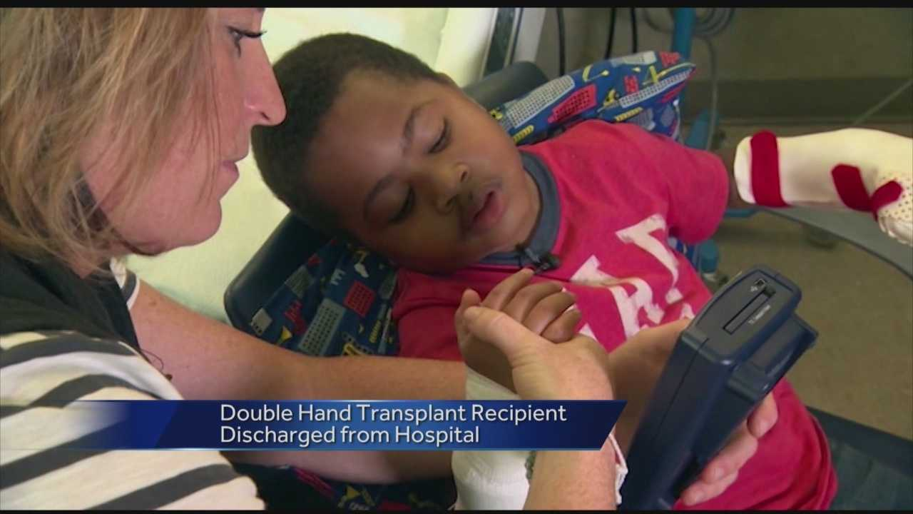 Zion Harvey, the 8-year-old boy who became the youngest patient to receive a double hand transplant, has left the Philadelphia hospital where the procedure was done and was returning to his Maryland home. Zion, who lost his hands and feet to an infection, underwent the 11-hour operation in July. Children's Hospital of Philadelphia officials said after a week in the pediatric intensive care unit, Zion was moved to a medical unit and then to an inpatient rehabilitation unit.