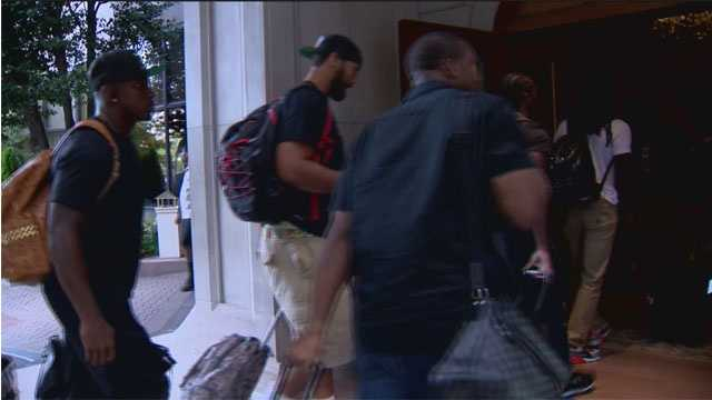 The Ravens arrive in Atlanta in preparation of the team's preseason game against the Falcons.