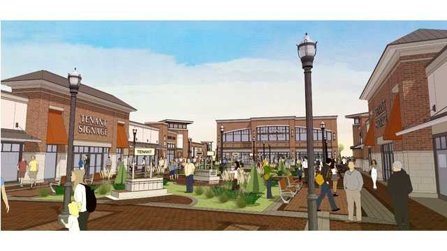 This is a rendering of a proposed outlet mall in White Marsh