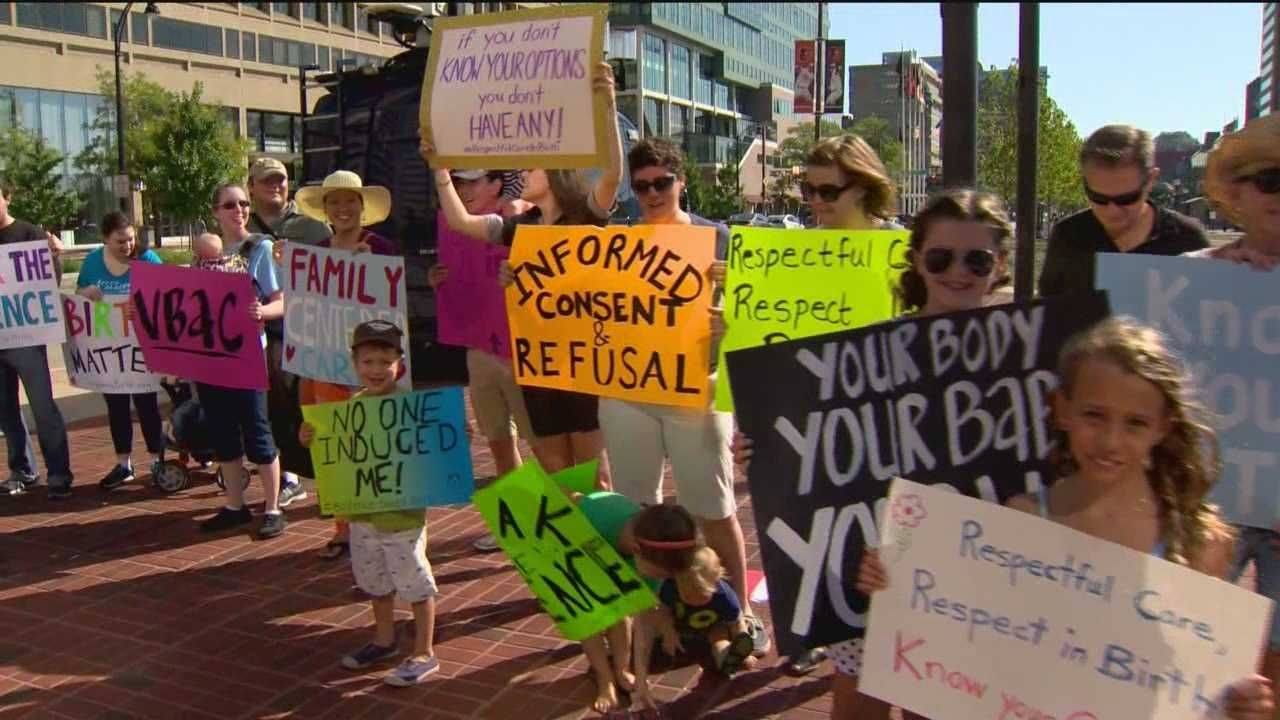 Women and children gathered in downtown Baltimore Monday morning. They were rallying to call attention to what they say is disrespect and abuse of women in childbirth.