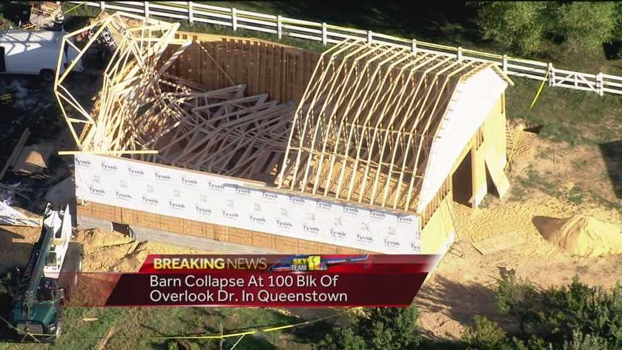 A construction worker has been injured in a barn collapse in Queen's Anne County.