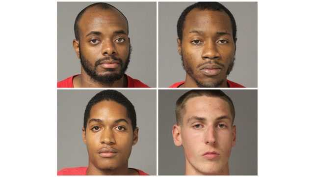 Anne Arundel County police said Karim Mitchell, 23, of Hyattsville&#x3B; Kyle Odowd, 18, of Crownsville&#x3B; Brian Middlebrooks, 26, of Bowie, and Stephen Cousins, 25, of Glen Dale, were each charged with first- and second-degree assault, reckless endangerment, illegal discharging of firearm, possession of marijuana, and possession of marijuana with intent to distribute.