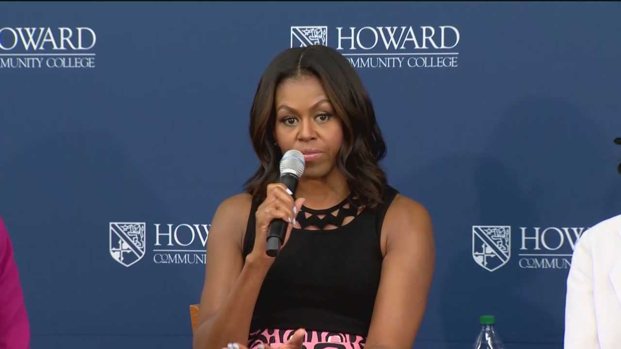 First lady Michelle Obama met on Thursday with a group of high school students in Howard County, encouraging them to continue their education when they graduate. This year, Howard Community College almost doubled the number of students earning degrees, which might explain why the first lady picked the school to promote higher education. Obama took center stage as she met with a small group of Howard County high school students there to learn more about preparing for college and the best way to get in.