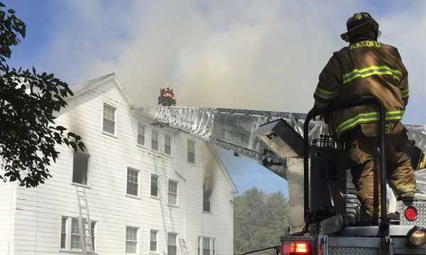 Firefighters battled a two-alarm fire at 200 West Maple Road in the Linthicum Heights area just before 11:15 a.m. Saturday.