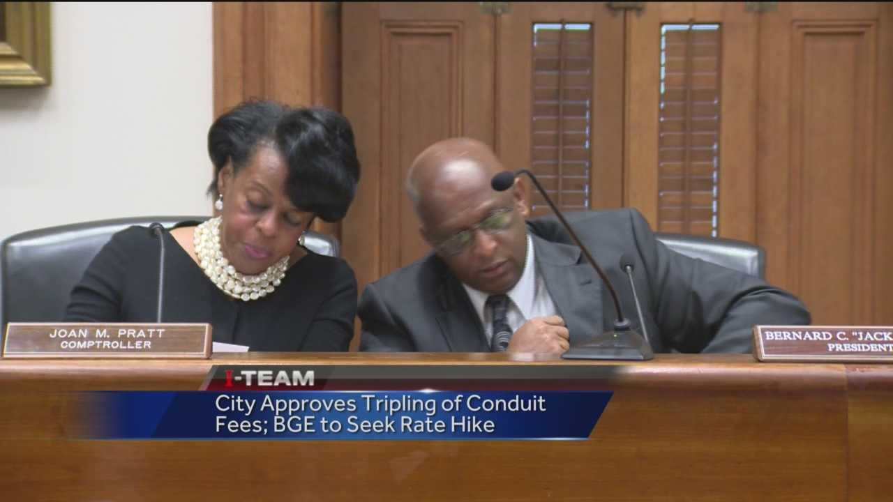 Baltimore City officials vote for a big hike in the fees the city charges companies to use its aging underground conduit system. Baltimore Gas and Electric objected, saying it will try to pass the increase on to BGE city customers, which means another fight is looming. The conduit system runs underground and is a pipe-and-tube system that carries cables and wiring.