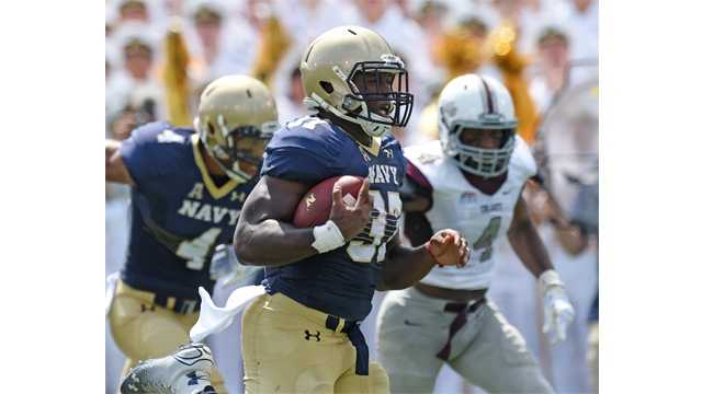 Navy fullback Chris Swain has rushed for 302 yards and two touchdowns through three games for the Midshipmen in the 2015 season.