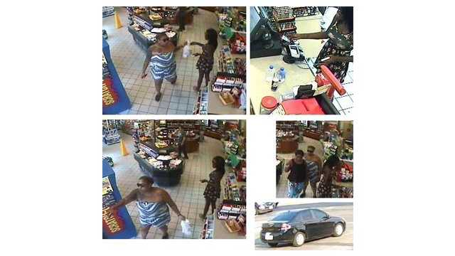 Baltimore County police said these women pictured in this surveillance footage maced and robbed a woman in July in Dundalk.