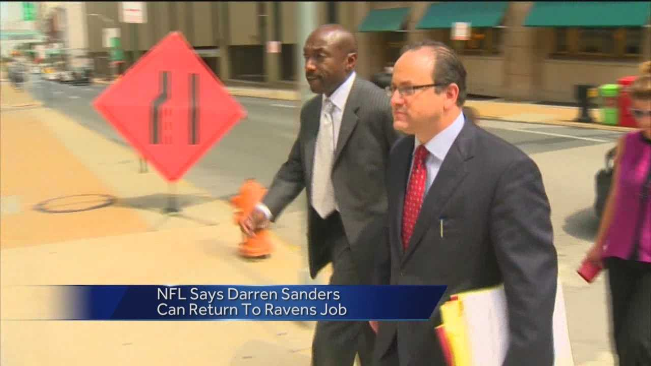 Ravens security director Darren Sanders can return to his job less than two months after he was cleared of sexual assault charges. NFL spokesman Brian McCarthy said Sanders was cleared to return work after the league conducted their own investigation into the matter.