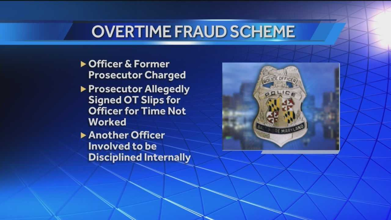 A Baltimore City police officer is suspended without pay after he was charged with several counts of felony theft. Officer Timothy Stach and former Baltimore City prosecutor Molly Webb are accused in an overtime fraud scheme.