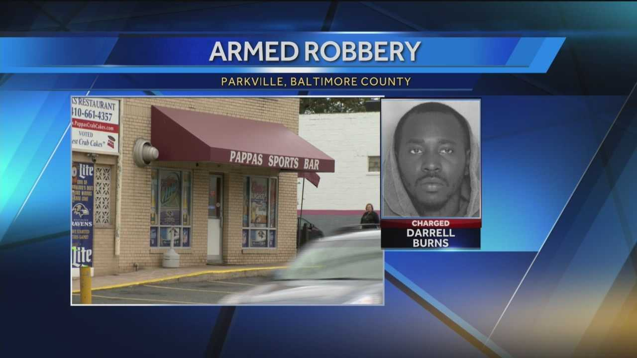 The owner of a Baltimore County restaurant was beaten and robbed while trying to get a bag of money out of his car Saturday. Authorities said Markos Pappas, 83, was in the parking lot of Pappas Seafood Restaurant just before noon when he attempted to retrieve the bag and was pistol-whipped. Officials identified the robber as Darrell Burns, 25, who fled from the scene in a car with the money.