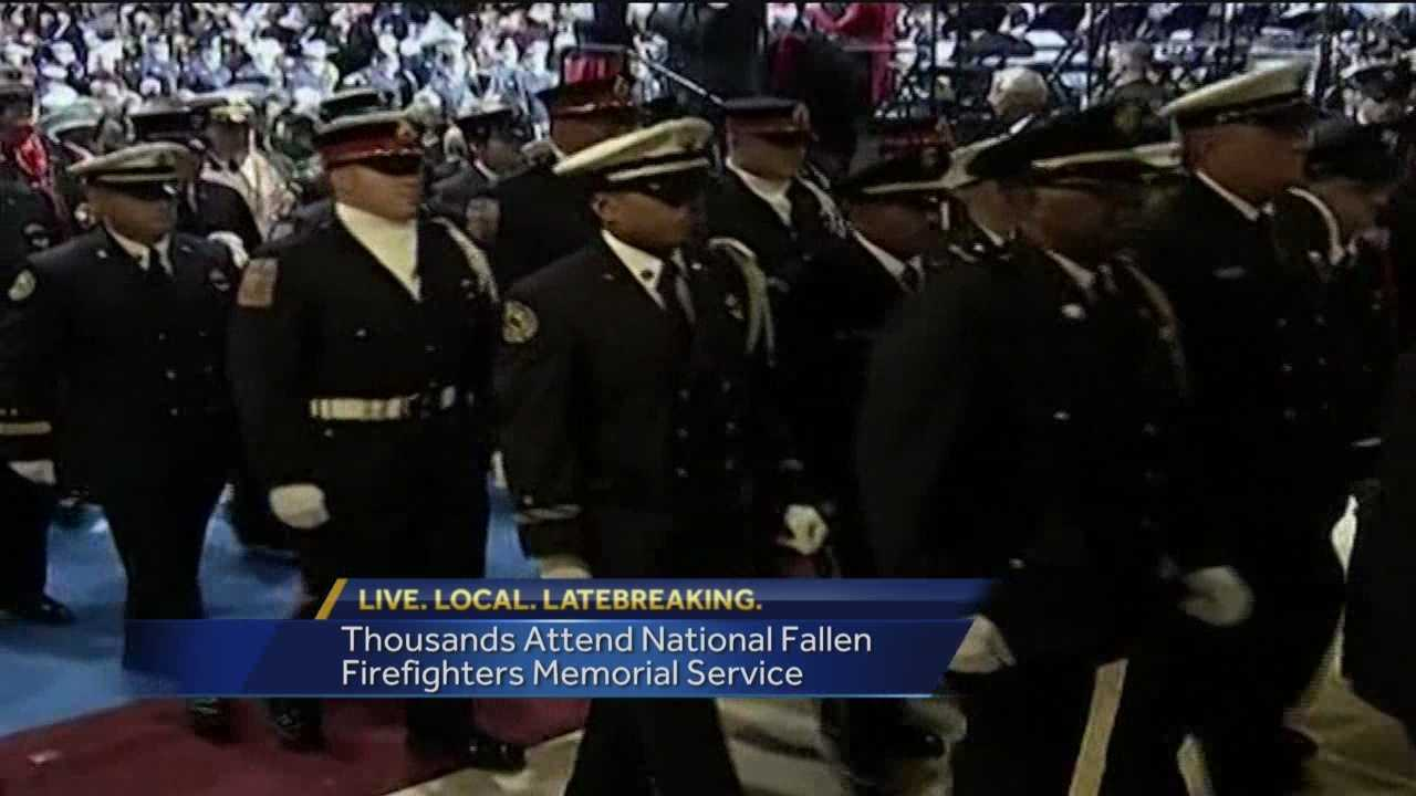President Barack Obama has paid tribute to firefighters who died in the line of duty and cited the sacrifices they made in service to a grateful nation. Obama spoke at the annual national memorial service in Emmitsburg and said those being remembered were heroes. Those honored included two from Maryland who died in the line of duty last year.