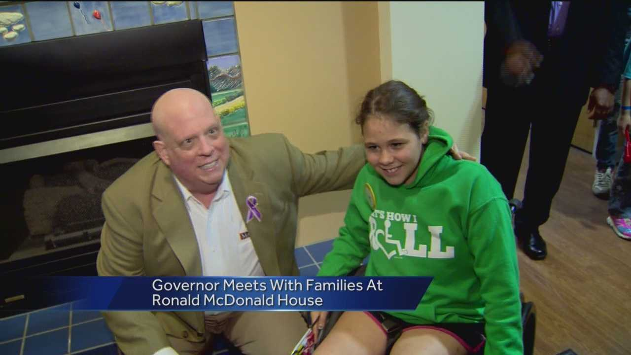 Gov. Larry Hogan prepares to enter the hospital Friday for his final round of chemotherapy. But prior to that, Hogan spent time Wednesday with children and families at the Ronald McDonald House in Baltimore.