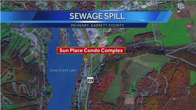 Garrett County officials say a faulty valve caused 6,000 gallons of raw sewage to leak from a condominium complex into Deep Creek Lake in the unincorporated community of McHenry.