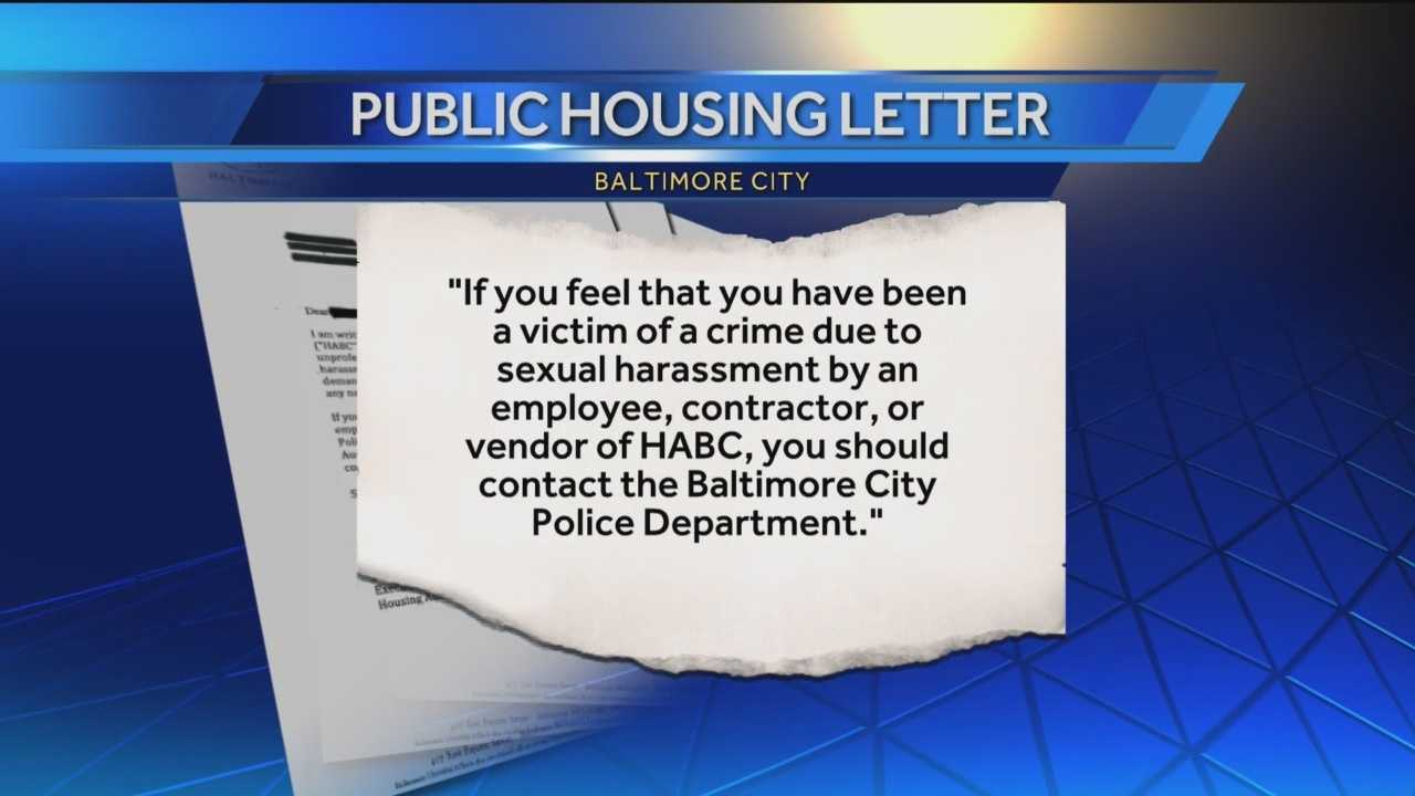 A week after seven women alleged a sex for repairs scheme, the Baltimore Housing director is sending letters to people who live in public housing. The letter lists what employees, contractors and vendors are not allowed to do and asks for potential victims of sexual harassment to contact police.