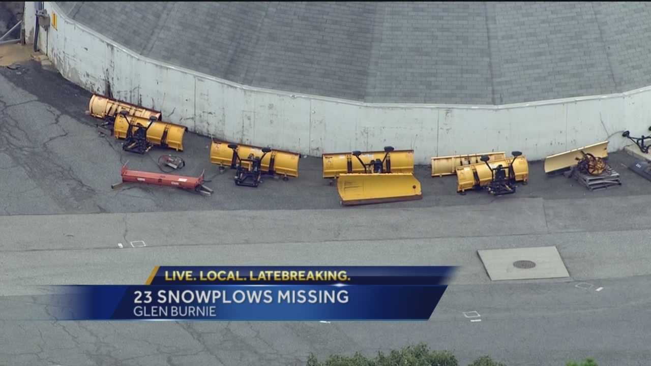 Snow plow blades are missing from the Maryland State Highway Administration's maintenance shop in Glen Burnie, according to the Maryland Department of Transportation.