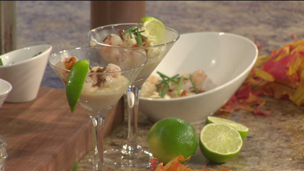 Chef Jerry Infantino of Centerplate shows how to make sauteed shrimp and crab over grits.