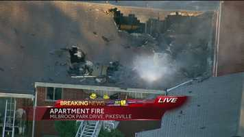 A trash fire ignited Wednesday evening at an apartment complex in Baltimore County and quickly escalated to three alarms. SkyTeam 11 reported that the fire was burning around 5 p.m. at the Milbrook Park Apartments in Pikesville. SkyTeam 11 Capt. Roy Taylor said the fire spread from the ground to two attics in two apartment buildings. Fire crews reported heavy fire in several attics. Crews got the fire under control by 6 p.m.