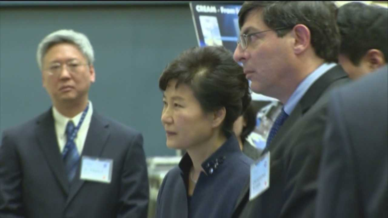 South Korea's president stopped Wednesday in Maryland as part of an official U.S. visit. South Korea's first female president, Park Geun-hye, met with the first lady of Maryland, Yumi Hogan, who made history herself when she became the first Korean-born first lady in the United States. She visited Goddard Space Flight Center as part of her visit.