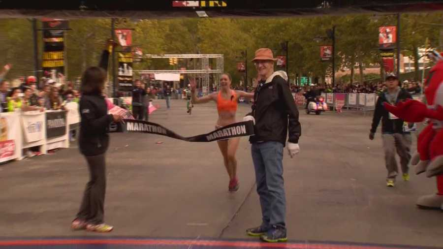Caitlin Gaughan, 29, of Scranton, Pa. is the 2015 woman's champion in the Baltimore Marathon.