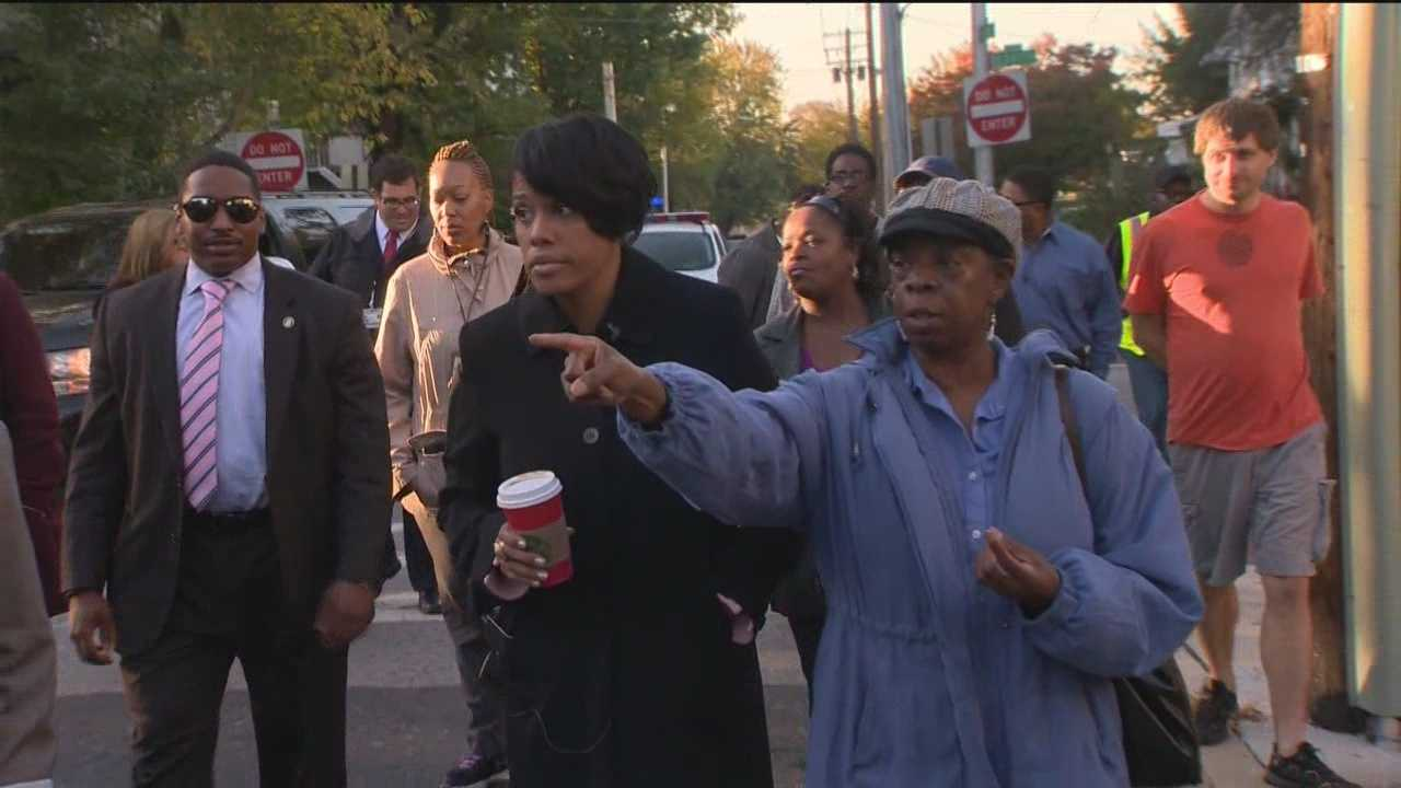 Mayor Stephanie Rawlings-Blake spent the morning walking with other city and community leaders through an east Baltimore neighborhood plagued by blight and violence.
