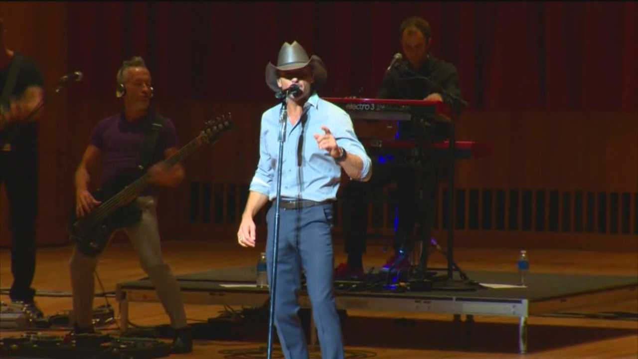 Country music superstar Tim McGraw stopped in Baltimore Saturday night for a concert that benefits the University of Maryland Children's Hospital. Celebrities, doctors and patients converged at Joseph Meyerhoff Symphony Hall. Nearly 2,000 people came out for the show. It was not immediately known how much money was raised.