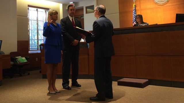 Former Maryland first lady Kendel Ehrlich has been sworn in as an assistant state's attorney in Anne Arundel County.