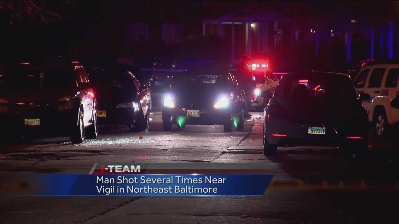 A man was shot Thursday evening at a candlelight vigil in northeast Baltimore. Police said officers were called around 8 p.m. to the 5400 block of Moores Run Drive, where a 26-year-old man had been shot multiple times. He was taken to a hospital. The location is also where 21-year-old Damien Best was killed on Monday night.