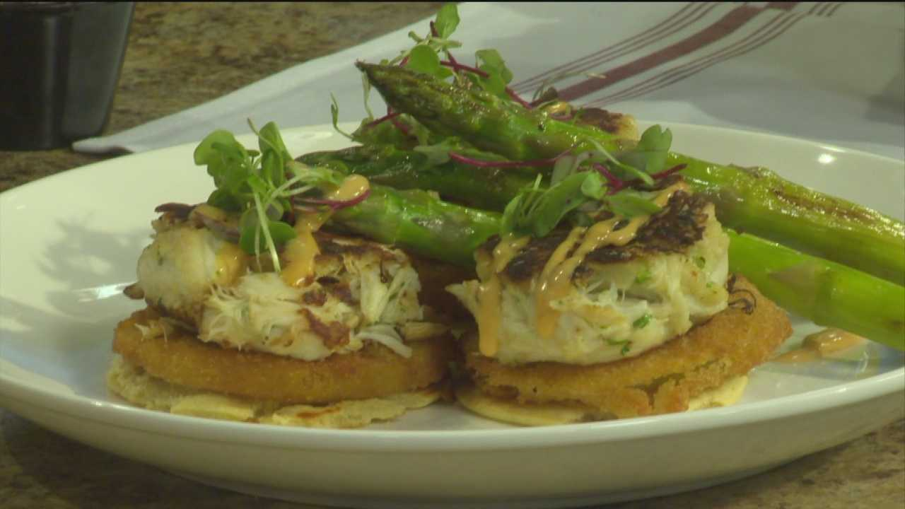 Chef Kyle Algaze from Rooster makes a signature dish from their restaurant.