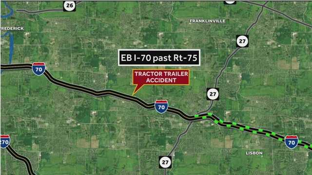 A portion of eastbound Interstate 70 was closed for several hours Wednesday after a tractor trailer overturned in Frederick County.