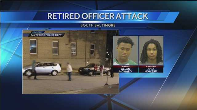 Amia and Allen Howard have both been charged in the assault of a retired Baltimore City police officer.
