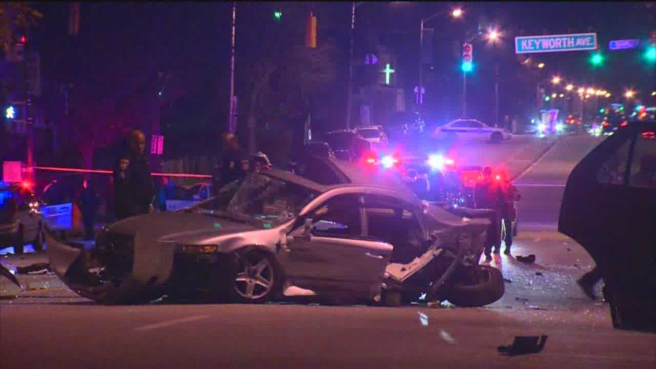 Two people were ejected and a total of eight people were hurt in a crash involving five vehicles in northwest Baltimore Friday night.