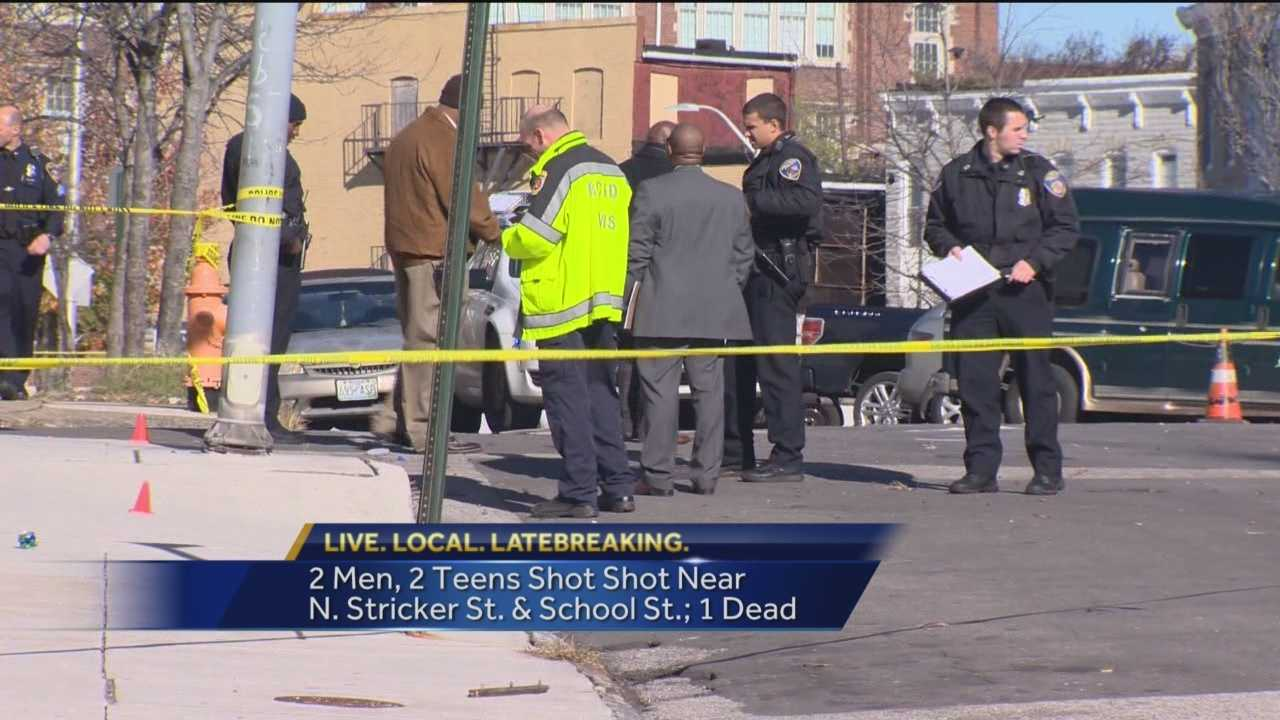 A 28-year-old man was killed and three others were injured in a shooting Saturday morning in west Baltimore, police said. Two teenagers and two adults were shot around 10:15 a.m. in the 1500 block of Stricker Street. A 15-year-old boy, a 14-year-old boy and a 26-year-old man were taken to a hospital. Their injuries were not considered life-threatening, police said.