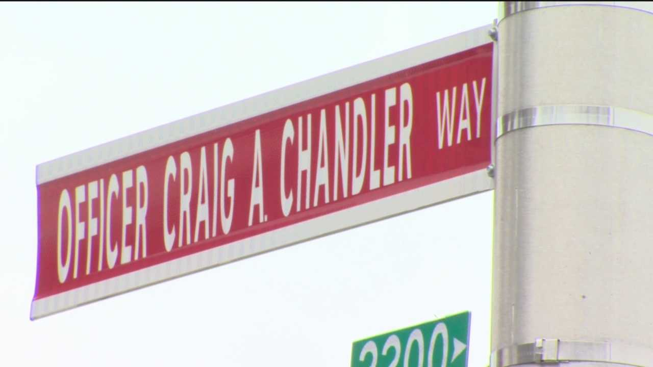 It has been one year since the crash that critically injured Baltimore police Office Craig Chandler. Two months after the crash, Chandler passed away and city officials gathered Sunday to honor his memory by naming a street after him.