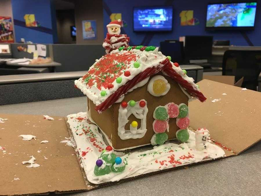 The WBAL-TV 11 News team makes gingerbread houses each year for The Kennedy Krieger Institute's Festival of Trees.