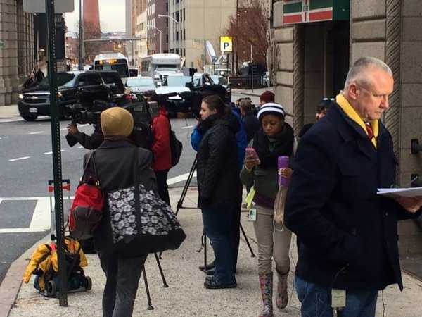 Media from across the country begin to gather for the start of the trial of Officer William Porter
